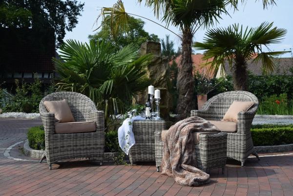 weser trade24 sitzgruppe balkon wt 8080 sandfarben rundrattan. Black Bedroom Furniture Sets. Home Design Ideas